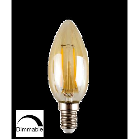 Λάμπα κεράκι LED Filament Amber E14 4W 2700K (ΘΕΡΜΟ) C35 360o 320Lm DIMMABLE
