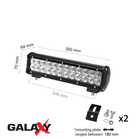 Προβολέας μπάρα LED Στεγανός 72W 6000K (ΨΥΧΡΟ) 5400Lm IP67 12V/24V για αυτοκίνητα, βάρκες, αγροτικά μηχανήματα