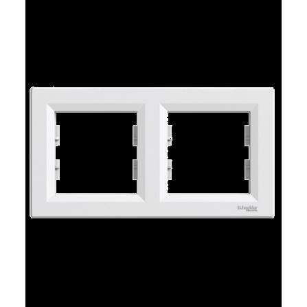 Διπλό πλαίσιο οριζόντιο λευκό SCHNEIDER ASFORA