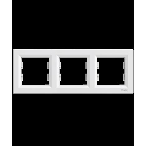 Τριπλό πλαίσιο οριζόντιο λευκό SCHNEIDER ASFORA