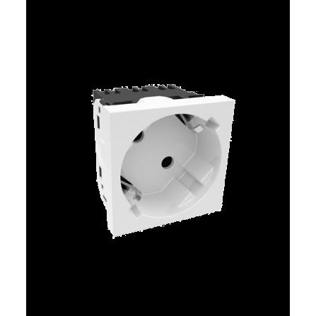 Πρίζα μονή σούκο 45 μοίρες 16A για κανάλι Modular 100x50 σε λευκό χρώμα