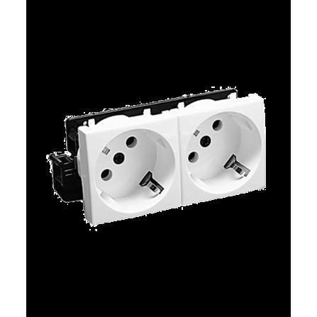 Πρίζα διπλή σούκο 45 μοίρες 16A για κανάλι Modular 100x50 σε λευκό χρώμα