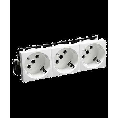 Πρίζα τριπλή σούκο 45 μοίρες 16A για κανάλι Modular 100x50 σε λευκό χρώμα