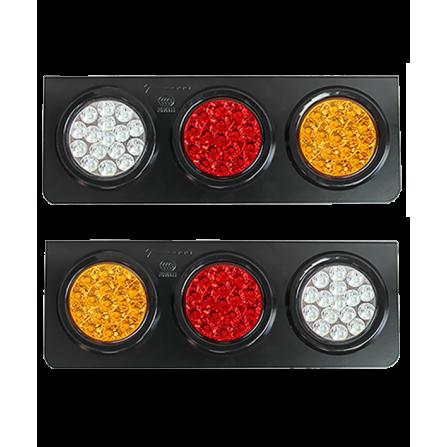 Φωτιστικό LED Τριπλό Στεγανό λευκο / κόκκινο / πορτοκαλί IP66 12V/24V για φορτηγά & οχήματα