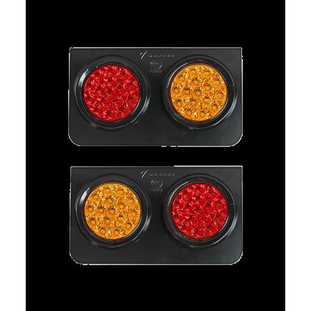 Φωτιστικό LED Διπλό Στεγανό κόκκινο / πορτοκαλί IP66 12V/24V για φορτηγά & οχήματα