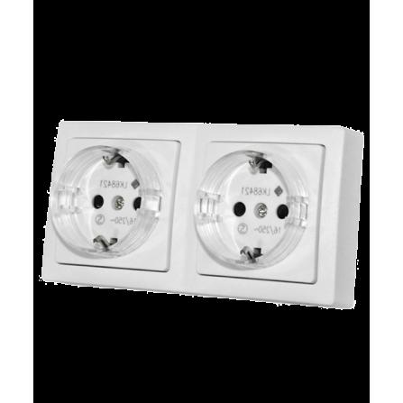 Πρίζα Σούκο Διπλή Εξωτερική 16A Λευκή IP20