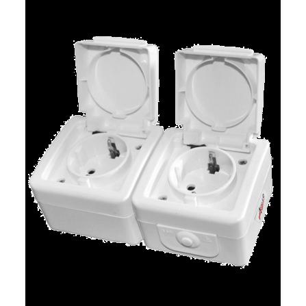 Πρίζα Σούκο Διπλή Εξωτερική Στεγανή 16A Λευκή IP44