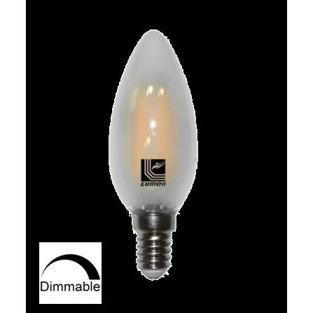 Λάμπα κεράκι ματ LED Filament DIMMABLE E14 4W 2800K (ΘΕΡΜΟ) C35 360o 450Lm