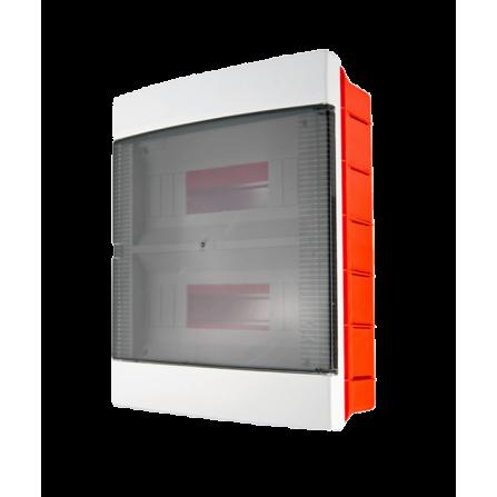 Πλαστικός πίνακας διανομής χωνευτός 2 σειρών 24 θέσεων με ημιδιάφανη πόρτα