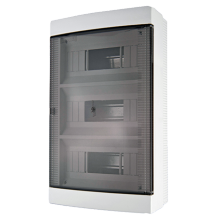 Πλαστικός πίνακας διανομής εξωτερικός 3 σειρών 36 θέσεων με ημιδιάφανη πόρτα