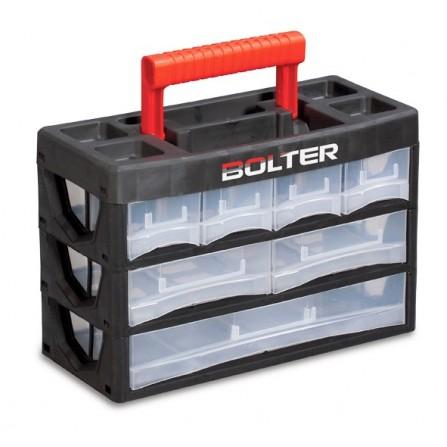 Κουτί αποθήκευσης πλαστικό με 11 διάφανα συρτάρια σε 3 σειρές και χερούλι μεταφοράς 140x315x210mm