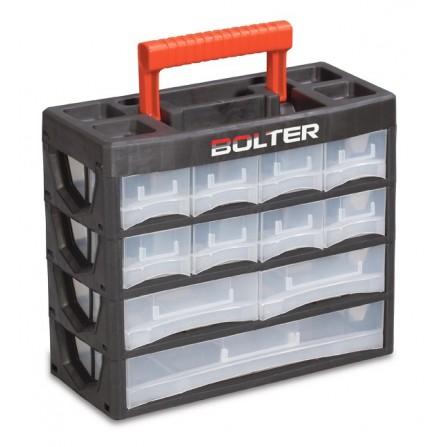 Κουτί αποθήκευσης πλαστικό με 19 διάφανα συρτάρια σε 4 σειρές και χερούλι μεταφοράς 140x315x270mm