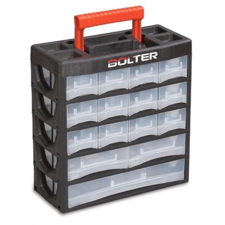 Κουτί αποθήκευσης πλαστικό με 15 διάφανα συρτάρια σε 5 σειρές και χερούλι μεταφοράς 140x315x210mm