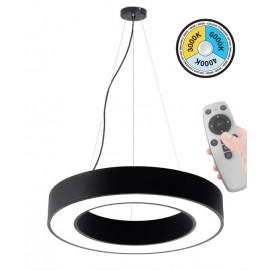 Κρεμαστό Φωτιστικό LED 45W με επιλογή χρώματος (3000Κ/4000K/6000K) με χειριστήριο ντιμαριζόμενο  4050Lm Φ600mm μαύρο στρόγγυλο