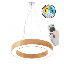 Κρεμαστό Φωτιστικό LED 45W με επιλογή χρώματος (3000Κ/4000K/6000K) με χειριστήριο ντιμαριζόμενο  4050Lm Φ600mm ξύλο στρόγγυλο