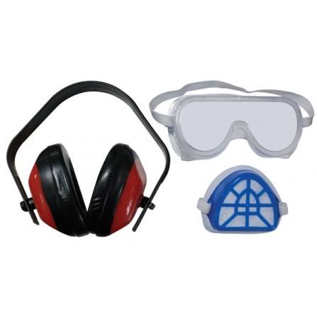 Σετ γυαλιά προστασίας εργαζομένων με ακουστικά και μάσκα