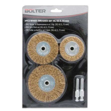 Σετ συρματόβουρτσες πλακέ 3 τεμ Φ50/65/75mm με 2 άξονες Φ6mm