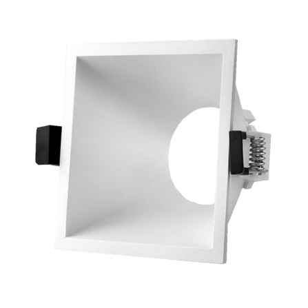 Σποτ οροφής τετράγωνο χωνευτό σταθερό μονό από θερμοπλαστικό λευκό