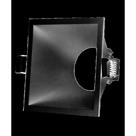 Σποτ οροφής τετράγωνο χωνευτό σταθερό μονό από θερμοπλαστικό μαύρο ματ