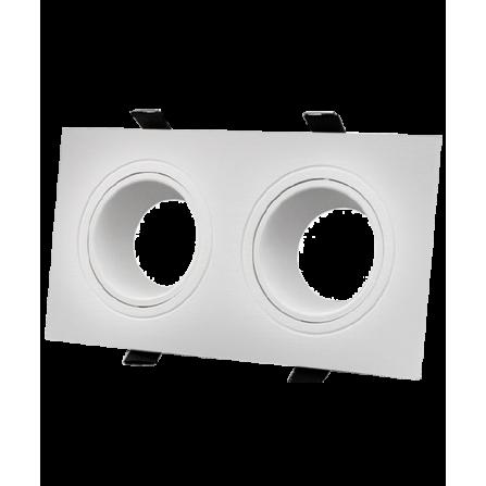 Σποτ οροφής τετράγωνο χωνευτό κινητό διπλό από θερμοπλαστικό λευκό