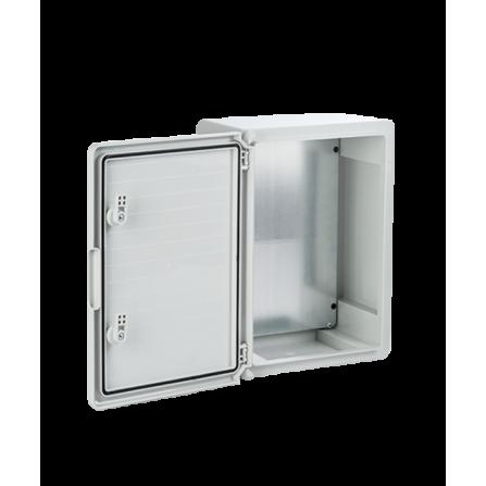 Πλαστικό κιβώτιο ABS 40x30x22 στεγανό με πλάκα στήριξης και πόρτα