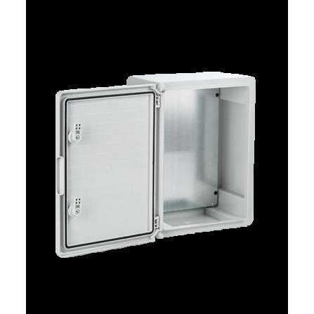 Πλαστικό κιβώτιο ABS 30x20x13 στεγανό με πλάκα στήριξης και πόρτα