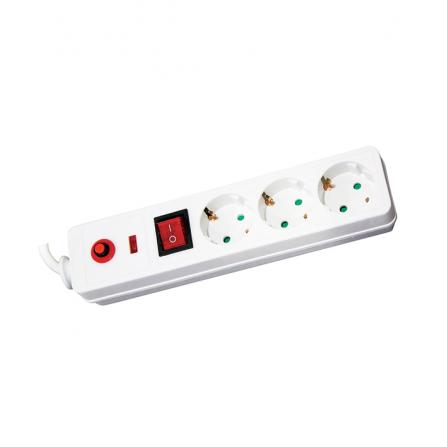 Πολύμπριζο σούκο 3 θέσεων ασφαλείας με διακόπτη και καλώδιο 3m (3x1.5mm) λευκό