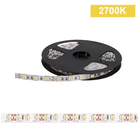 Ταινία LED 14,4W/m CHIP 5050 60chips/m 2700K (ΘΕΡΜΟ) 580Lm IP20 12V