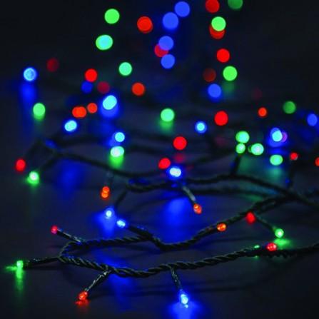 Χριστουγεννιάτικα λαμπάκια/φωτάκια 100 LED με επέκταση & πρόγραμμα πράσινο καλώδιο/πολύχρωμο φως