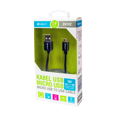 Καλώδιο MICRO USB 2.0 AB M/M HIGH QUALITY  1,0m μαύρο