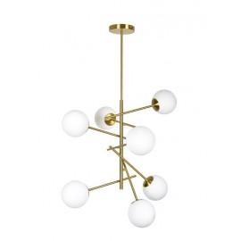 Κρεμαστό μεταλλικό φωτιστικό σε χρυσό με οπαλίνες PRATO Ε27X7