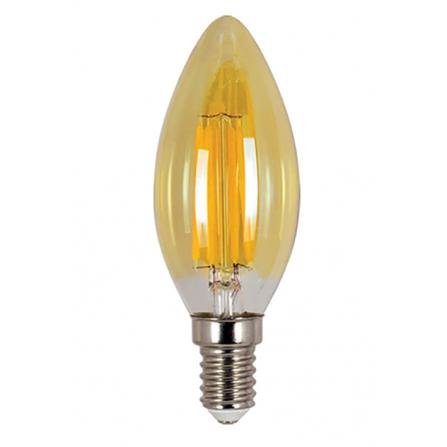 Λάμπα κεράκι LED Filament Amber E14 4W 2700K (ΘΕΡΜΟ) C35 360o 380Lm VIVA