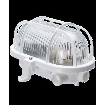 Καραβοχελώνα πλαστική στεγανή για λαμπτήρα Ε27 σε λευκό χρώμα με πλαστικό πλέγμα