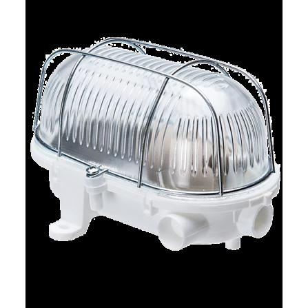 Καραβοχελώνα πλαστική στεγανή για λαμπτήρα Ε27 σε λευκό χρώμα με μεταλλικό πλέγμα