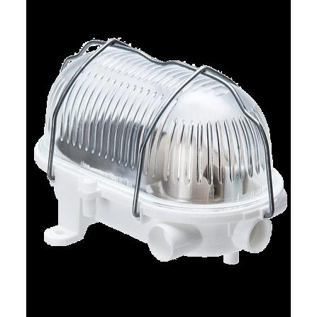 Καραβοχελώνα πλαστική στεγανή για λαμπτήρα Ε27 σε λευκό χρώμα με μεταλλικό πλέγμα μονό