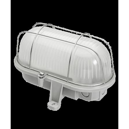 Καραβοχελώνα πλαστική στεγανή με ματ γυαλί για λαμπτήρα Ε27 max 100w σε γκρι χρώμα με μεταλλικό πλέγμα