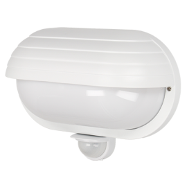 Απλίκα Τοίχου πλαστική στεγανή με αισθητήρα για λαμπτήρα Ε27 σε λευκό χρώμα