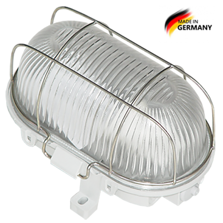 Καραβοχελώνα πλαστική στεγανή με μεταλλικό πλέγμα για λαμπτήρα Ε27 σε γκρι χρώμα