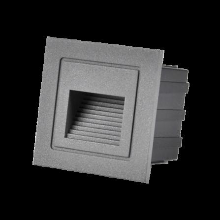 Χωνευτό Φωτιστικό Απλίκα LED για τοίχο ή σκάλα 3W 4000K (ΦΩΣ ΗΜΕΡΑΣ) 20Lm IP65 μαύρο 313720