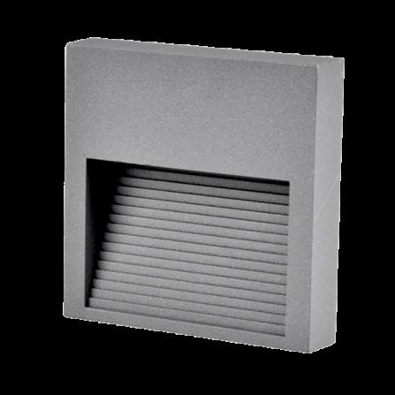Εξωτερικό Φωτιστικό Τετρ'αγωνο LED για τοίχο ή σκάλα 3W 4000K (ΦΩΣ ΗΜΕΡΑΣ) 60Lm IP44 γκρι γραφίτης 313751