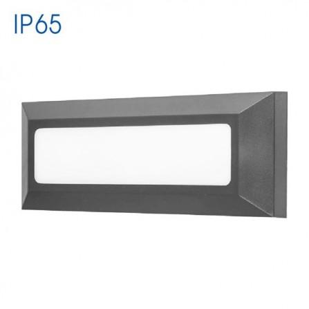 Εξωτερικό Φωτιστικό Παραλληλόγραμμο LED για τοίχο 4W 4000K (ΦΩΣ ΗΜΕΡΑΣ) 280Lm IP65 γκρι γραφίτης ALVIA