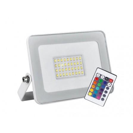 Προβολέας LED Στεγανός 30W λευκός RGB 2250Lm IP65 180V-240V