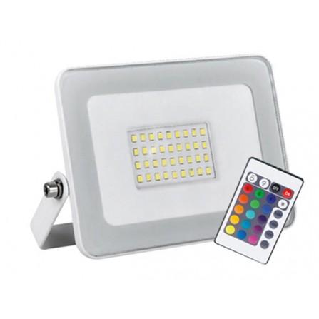 Προβολέας LED Στεγανός 50W λευκός RGB 3750Lm IP65 180V-240V