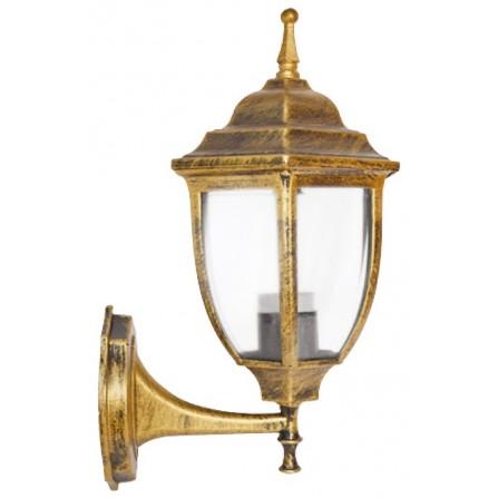 Απλίκα φανάρι αλουμινίου εξάγωνο χρυσό E27 για τοποθέτηση σε τοίχο προς τα επάνω IP33 FIRENCE 1 UP
