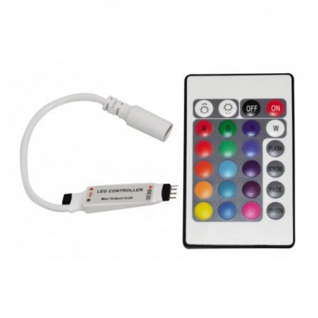Ασύρματο Χειριστήριο IR Mini για ταινία Led RGB 72w με 24 πλήκτρα