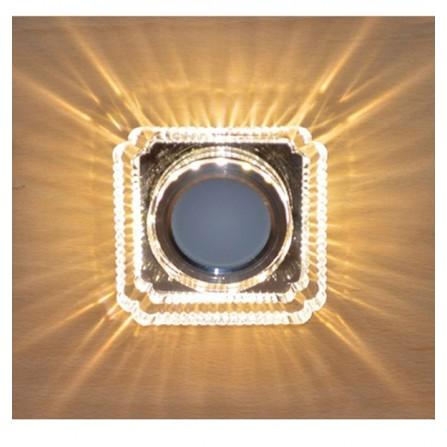 Γυάλινο σποτ οροφής τετράγωνο χωνευτό διπλού φωτισμού 3W 4000K (ΦΩΣ ΗΜΕΡΑΣ) & MR16 LIGHTEX