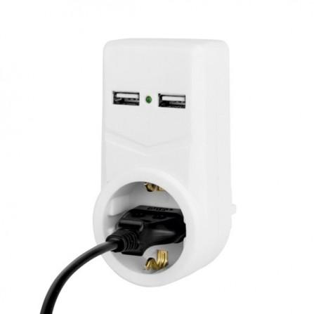 Ανταπτόρας με 1 πρίζα σουκο και 2 θύρες USB 2,1Α λευκός LIGHTEX