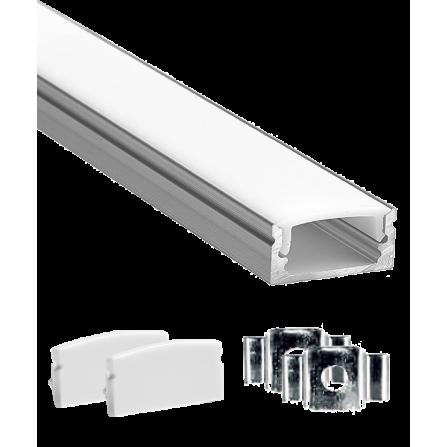 Εξωτερικό προφίλ αλουμινίου 17.5x7mm για ταινία LED με κάλυμμα λευκό οπάλ