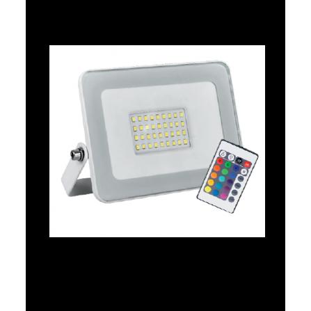 Προβολέας LED Στεγανός 20W λευκός RGB 1500Lm IP65 180V-240V