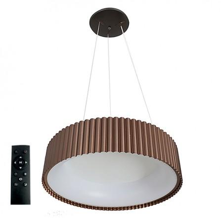 Κρεμαστό Φωτιστικό LED 42W 3000K-4000Κ-6000K 3CCT DIMMABLE με τηλεχειριστήριο ΣΤΡΟΓΓΥΛH καφέ Φ460mm TANIA VITO